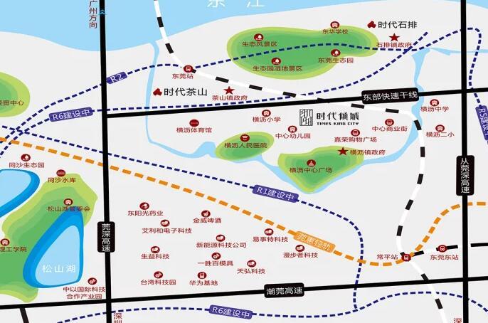 时代倾城离松山湖有多远?时代倾城离华为有多远?