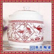 20斤30斤厨房面粉大米带盖 酒缸米桶储物罐高白泥直筒圆柱防