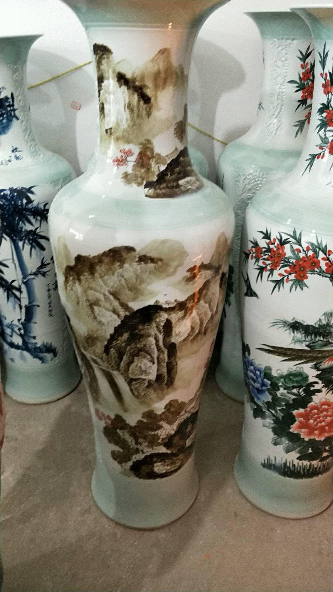 景德镇陶瓷器瓶中国红牡丹花开富贵落地大花瓶酒店客厅大摆件