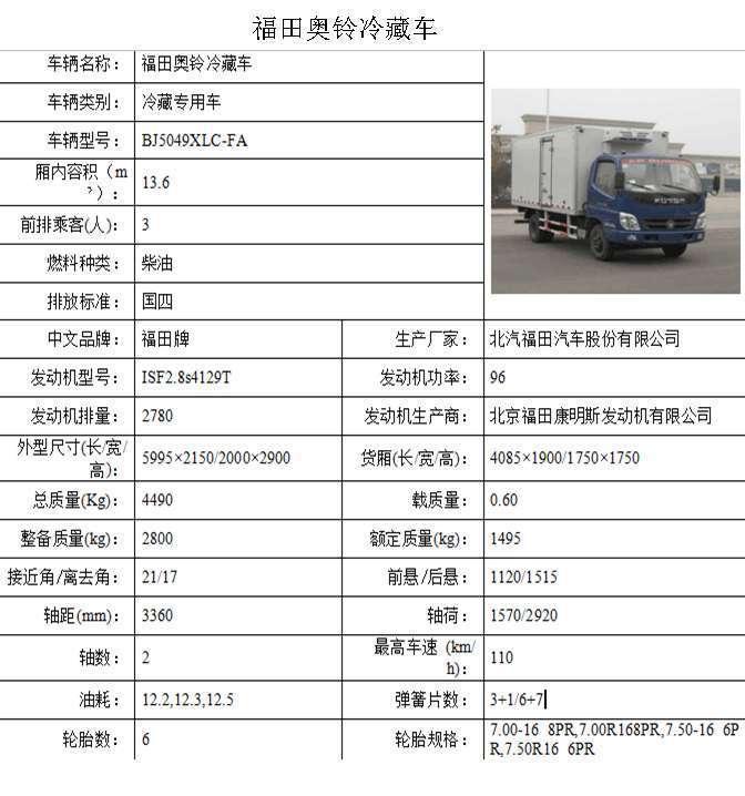福田奥铃冷藏车食品肉挂药品冷藏车支持定做厂家直销